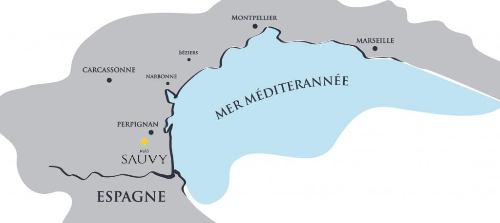 Carte géographique du Mas Sauvy